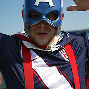 A USA soccer fans poses prior to an international friendly soccer match between Scotland and the United States at EverBank Field on Saturday, May 26, 2012 in Jacksonville, Florida.  The United States won the match 5-1 in front of 44,000 fans. (AP Photo/Alex Menendez)