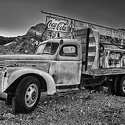 Coca Cola Bottling Co Flatbed Chevrolet Truck -  Dusk - Eldorado Canyon - Nelson NV - HDR - Black & White