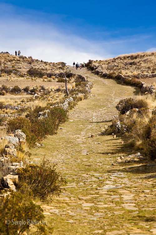 A stone-paved Inca road criss-crosses the Bolivian highlands around Lake Titicaca.