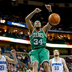 Mar 20, 2013; New Orleans, LA, USA; Boston Celtics small forward Paul Pierce (34) dunks against the New Orleans Hornets during the second half of a game at the New Orleans Arena. The Hornets defeated the Celtics 87-86. Mandatory Credit: Derick E. Hingle-USA TODAY Sports