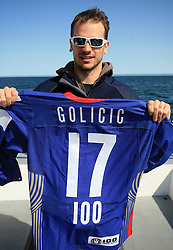 Jurij Golicic  at whale watching boat when Poloncic (18), Golicic (17), Rebolj (27) and Razingar (9) were celebrating an anniversary of playing for Slovenian National Team for 100 (120) times, during IIHF WC 2008 in Halifax,  on May 07, 2008, sea at Halifax, Nova Scotia,Canada.(Photo by Vid Ponikvar / Sportal Images)