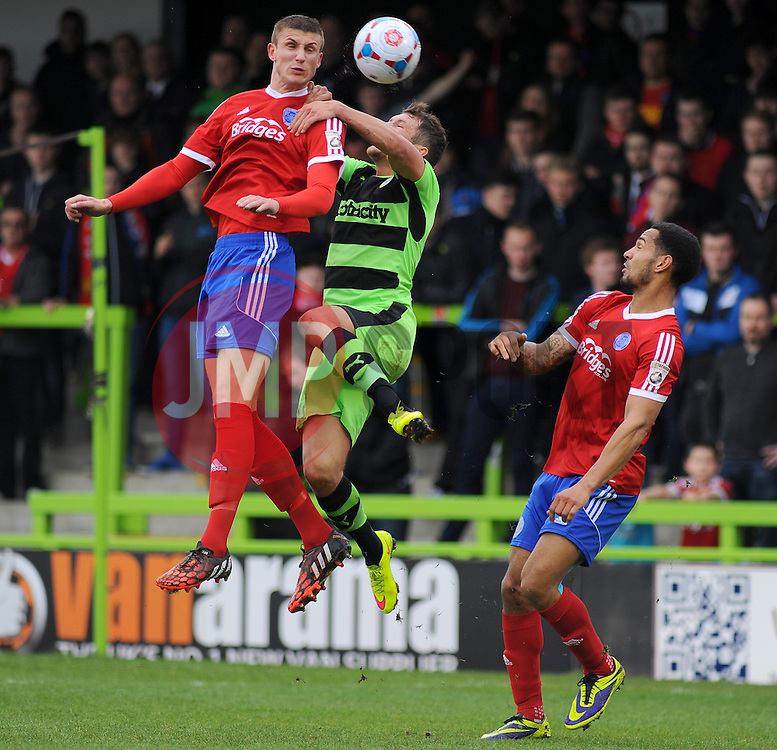 Forest Green Rovers's James Norwood loses the high ball to Aldershot Town's Damon Lathrope - Photo mandatory by-line: Nizaam Jones - Mobile: 07966 386802 - 03/04/2015 - SPORT - Football - Nailsworth - The New Lawn - Forest Green Rovers v Aldershot Town - Vanarama Football Conference