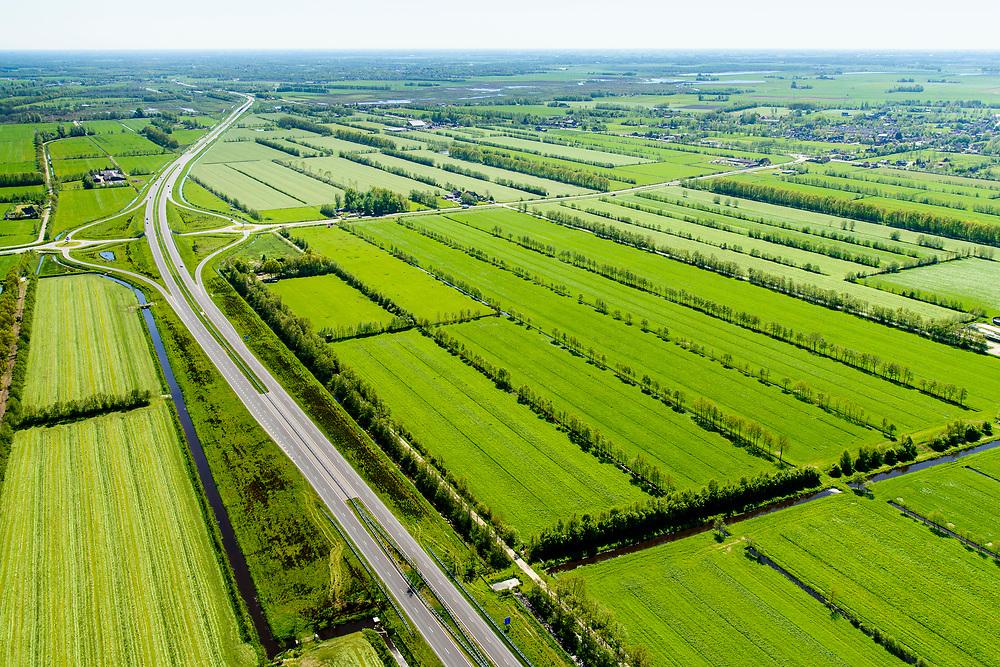 Nederland, Friesland, Centrale As, 07-05-2018; provinciale weg 356 (N356), Sintrale As of de Centrale As, tussen Nijega en Dokkum.<br /> Lokatie ter hoogte van Damwald, kamertjes landschap.<br /> New local motorway Friesland<br /> luchtfoto (toeslag op standaard tarieven);<br /> aerial photo (additional fee required);<br /> copyright foto/photo Siebe Swart