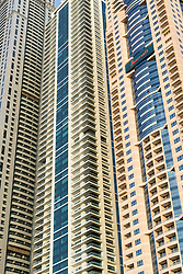 Close-up of  skyscrapers in Dubai United Arab Emirates