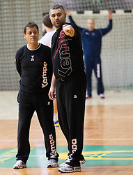 Coaches Bojan Cotar and Boris Denic during the Training Camp before IHF Men's Handball World Championship Spain 2013 on January 9, 2013 in Zrece, Slovenia. (Photo By Vid Ponikvar / Sportida.com)