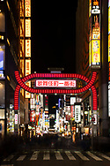 A red neon gate and a profusion of neon signs in the Kabukicho district of Tokyo, Japan