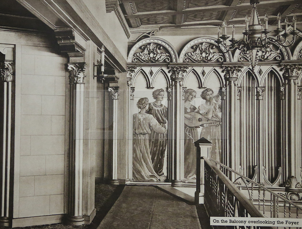 © Licensed to London News Pictures. 10/10/2013. A Grade-II listed former theatre in Woolwich is being restored to its former glory by a London based church. This photo of the medieval figures at the top of the Grand Staircase comes from a promotional brochure produced at the time of its opening in 1937. Photo used with permission of Greenwich Heritage Centre. More copy at: http://www.greenwich.co.uk/woolwichgranada.txt  Credit : Rob Powell/LNP