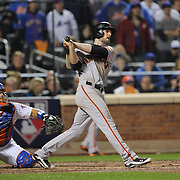 NEW YORK, NEW YORK - October 5: Conor Gillaspie #21 of the San Francisco Giants hits a three run home run in the top of the ninth during the San Francisco Giants Vs New York Mets National League Wild Card game at Citi Field on October 5, 2016 in New York City. (Photo by Tim Clayton/Corbis via Getty Images)