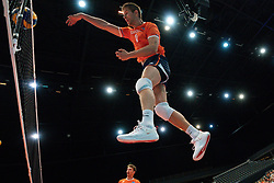 11-08-2019 NED: FIVB Tokyo Volleyball Qualification 2019 / Netherlands - USA, Rotterdam<br /> Final match pool B in hall Ahoy between Netherlands vs. United States (1-3) and Olympic ticket  for USA / Wessel Keemink #2 of Netherlands, Thijs Ter Horst #4 of Netherlands