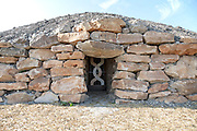 Modern-day neolithic style long Barrow burial chamber for storing cremation urns All Cannings, near Devizes, Wiltshire, UK.