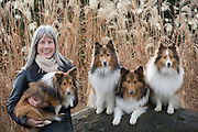 Wendy Lange with her Shelties, Lange winery, Dundee Hills, Willamette Valley, Oregon