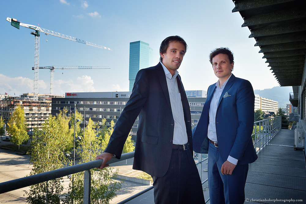 Jan Wurzbacher (left) and Christoph Gebald (right), the directors & founders of Climeworks, pose at a balcony of their office at Technopark in Zürich. Climeworks is a spin-off of the Swiss Federal Institute of Technology (ETH) in Zürich, Switzerland. They developed a new technology for efficiently capturing CO2 out of ambient air. The company claims that the captured CO2 enables the production of carbon-neutral renewable fuels allowing for efficient storage of renewable energies.
