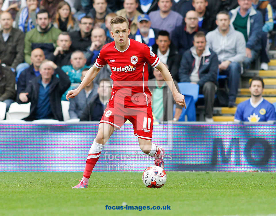 Craig Noone of Cardiff City against Nottingham Forest during the Sky Bet Championship match at the Cardiff City Stadium, Cardiff<br /> Picture by Mike  Griffiths/Focus Images Ltd +44 7766 223933<br /> 18/10/2014