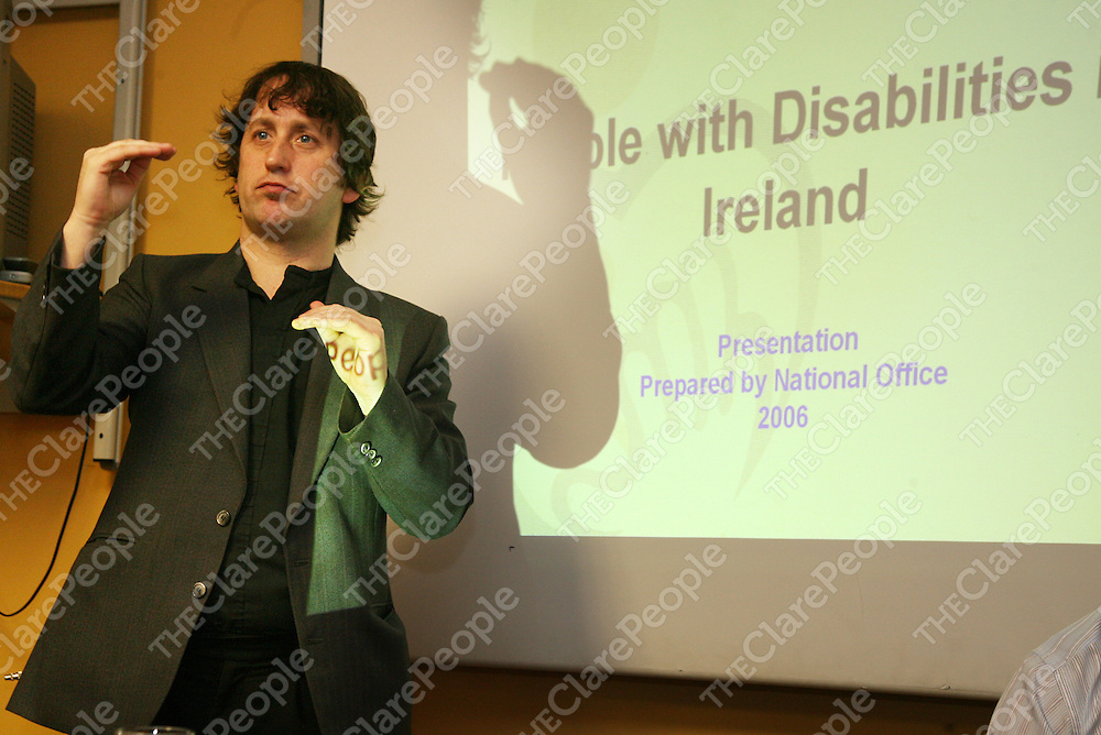 Sign language interpreter Sean Gilligan at the Clare Network of People with Disabilities conference in the Templegate Hotel on Friday.<br />