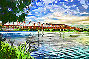 Digital Painting of Lorong Halus Bridge of Singapore