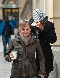 © Licensed to London News Pictures. 11/11/2015. Bristol, UK.  DONOVAN DEMETRIUS, who denies assisting an offender to hide and store Becky's body, hides his face as he arrives at Bristol Crown court on the day the jury retires to consider their verdict in the Rebecca Watts' murder trial.  Photo credit : Simon Chapman/LNP