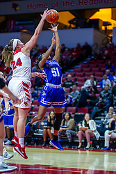 NORMAL, IL - January 03: Megan Talbot rejects a shot by Del'Janae Williams during a college women's basketball game between the ISU Redbirds and the Sycamores of Indiana State January 03 2020 at Redbird Arena in Normal, IL. (Photo by Alan Look)