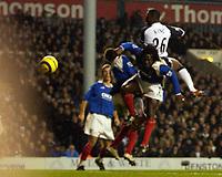 Photo: Daniel Hambury.<br />Tottenham Hotspur v Portsmouth. The Barclays Premiership. 12/12/2005.<br />Tottenham's Ledley King scores.