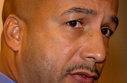 16 December, 05. New Orleans, Louisiana. <br /> New Orleans Mayor Ray Nagin is grilled by the media before his 'town hall meeting' where he listens and responds to residents at the Sheraton Hotel.<br /> Photo; &copy;Charlie Varley/varleypix.com