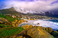 Glen Beach, Camp's Bay, with the Twelve Apostles in the background (near Cape Town), South Africa