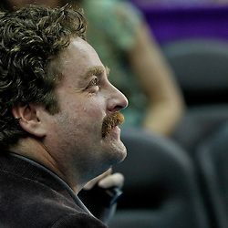 January 21, 2012; New Orleans, LA, USA; Actor, Zach Galifianakis watches courtside during the first quarter of a game against the Dallas Mavericks at the New Orleans Arena.   Mandatory Credit: Derick E. Hingle-US PRESSWIRE