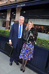 DAVID McDONOUGH and LADY MARY-GAYE CURZON and Pocket the dog at The Dog's Trust Awards announcement held at George, 87-88 Mount Street, London on 27th March 2012.