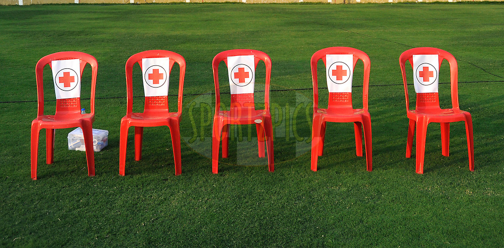 Medical team seating area in ground during match 43 of the Indian Super League (ISL) season 2  between Chennaiyin FC and Kerala Blasters FC held at the Jawaharlal Nehru Stadium, Chennai, Tamil Nadu, India on the 21st November 2015.<br /> <br /> Photo by Pal Pillai / ISL/ SPORTZPICS