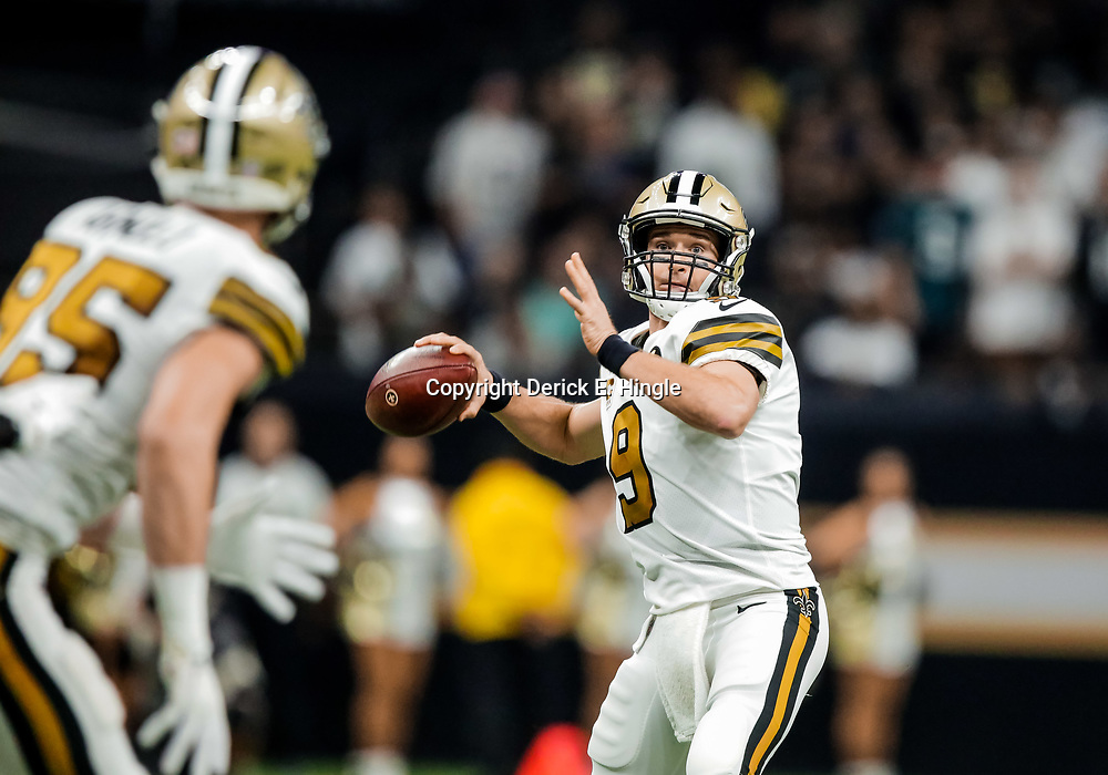 Nov 18, 2018; New Orleans, LA, USA; New Orleans Saints quarterback Drew Brees (9) throws against the Philadelphia Eagles during the first quarter at the Mercedes-Benz Superdome. Mandatory Credit: Derick E. Hingle-USA TODAY Sports