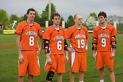 Virginia Goalie Bud Petit (8), attackman Ben Rubeor (6), attackman Garrett Billings (19), and attackman Danny Glading (9) were named to the 2008 ACC All-Tournament team.  The #2 ranked Duke Blue Devils defeated the #3 ranked Virginia Cavaliers 11-9 in the finals of the Men's 2008 Atlantic Coast Conference tournament at the University of Virginia's Klockner Stadium in Charlottesville, VA on April 27, 2008.