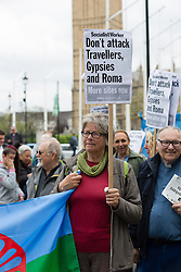 "© Licensed to London News Pictures. 21/05/2016. LONDON, UK. Travellers and gypsies from across the UK gather outside Westminster with horses and carts and stage a protest around Parliament Square. The gypsies are challenging the government's new housing and planning laws, including the Housing Bill, which redefine ""gypsy status"" and they claim that this will reduce the number of sites available to gypsies, worsening the housing crisis and taking away their cultural identity.  Photo credit: Vickie Flores/LNP"