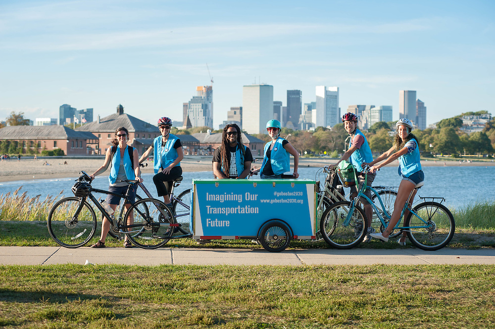 After a day of collecting transportation ideas, the Go Boston 2030 team packs up their booth and bikes off with Carson Beach behind them.