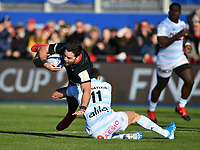 Rugby Union - 2019 / 2020 European Rugby Heineken Champions Cup - Pool Four: Saracens vs. Racing 92<br /> <br /> Saracens' Brad Barritt is tackled by Racing 92's Juan Imhoff, at Allianz Park.<br /> <br /> COLORSPORT/ASHLEY WESTERN