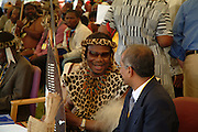 Chief Buthelezi arrives in the VIP tent. South Africa. Kwa Zulu Natal. Isandlwana battlefield. .©Zute Lightfoot.DVD0018