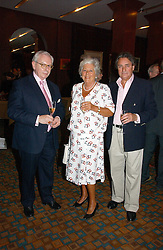 Left to right, DR DAVID STARKEY, BARONESS BOOTHROYD and WILLIAM TALLON at a party to celebrate the publication of Southwold - An Earthly Paradise by Geoffrey Munn and of Forty Years of The Antique Collectors Club at The Arts Club, 40 Dover Street, London W1 on 8th June 2006.<br />