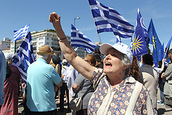 June 15, 2018 - Athens, Greece - Protesters demonstrate against the agreement between Greece and Macedonia over dispute of the former Yugoslav's republic name, outside the Greek Parliament. The prime ministers of Greece and its northern neighbor, Macedonia, agreed Tuesday that the former Yugoslav republic should be renamed North Macedonia. (Credit Image: © Aristidis Vafeiadakis via ZUMA Wire)