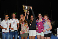 Martine Soffiati Grael, Kahena Kunze, Andre Fonseca and crew celebrate 1st Place finishes at the 49er and 49erFX Nationals in Miami, Florida