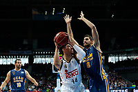 SPAIN, Madrid: Real Madrid's Mexican player Gustavo Ayon during the Liga Endesa Basket 2014/15 match between Real Madrid and Ucam Murcia, at Palacio de los Deportes in Madrid on November 16, 2014.