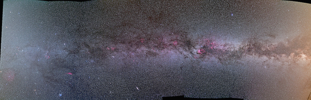 An 8-section mosaic of the northern Milky Way, from Aquila at right to Gemini at left, taken from southern Alberta on night Sept 23/24, 2009. The sky transparency was good but not great due to some smoke in the air and high haze. Taken with a Canon 5D MkII (Hutech modified), and a Canon 35mm L-series lens at f/4. Each frame of the mosaic is a stack of 4 x 8 minute exposures at ISO 800.  Assembled in Photoshop with Photmerge command.
