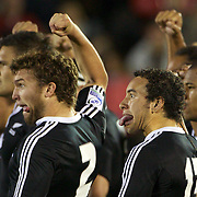 Liam Coltman (2) Star Timu, (13) and Tawera Kerr-Barlow (9), right,  perform the Haka with team mates before the Australia V New Zealand Final match at the IRB Junior World Championships in Argentina. New Zealand won the match 62-17 at Estadio El Coloso del Parque, Rosario, Argentina. 21st June 2010. Photo Tim Clayton...