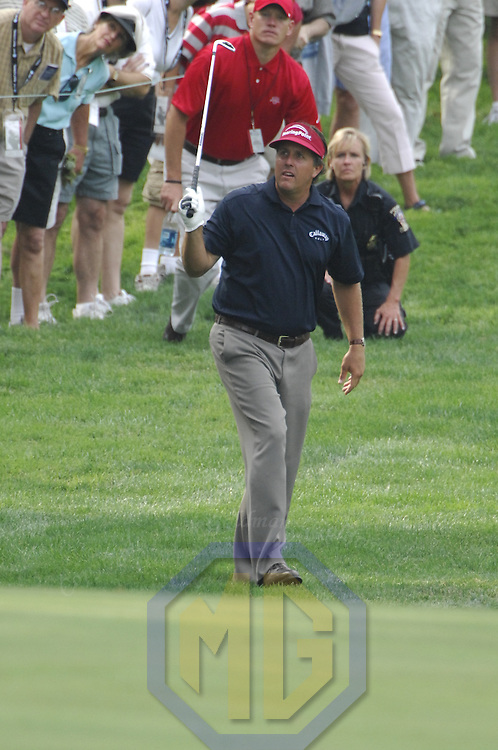 05 July 2007:  Phil Mickelson in the first round of the inaugural AT&T National PGA event at Congressional Country Club in Bethesda, Md. The proceeds of the golf tournament will benefit the Tiger Woods Foundation and local charities.   ****For Editorial Use Only