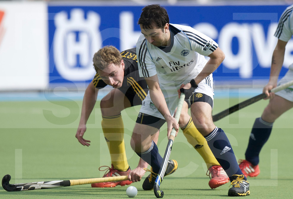 Amstelveen - Euro Hockey league KO16.Beeston HC - East Grinstead .foto: Harry Martin (black) and William Arthur (white)..FFU PRESS AGENCY COPYRIGHT FRANK UIJLENBROEK.
