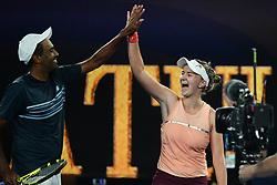MELBOURNE, Jan. 26, 2019  Barbora Krejcikova (R) of the Czech Republic and Rajeev Ram of the United States celebrate winning the mixed doubles final match against Australia's John-Patrick Smith and Astra Sharma at 2019 Australian Open in Melbourne, Australia, Jan. 26, 2019. Barbora KrejcikovaRajeev Ram won 2-0. (Credit Image: © Xinhua via ZUMA Wire)