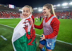 SOUTHAMPTON, ENGLAND - Friday, April 6, 2018: Wales' Charlie Estcourt and goalkeeper Claire Skinner celebrate at the final whistle after a hard fought goal-less draw against England during the FIFA Women's World Cup 2019 Qualifying Round Group 1 match between England and Wales at St. Mary's Stadium. (Pic by David Rawcliffe/Propaganda)