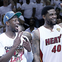 21 June 2012: Miami Heat shooting guard Dwyane Wade (3) celebrates with Miami Heat power forward Udonis Haslem (40), waiving 2 fingers for his two championships after the Miami Heat 121-106 victory over the Oklahoma City Thunder, in Game 5 of the 2012 NBA Finals, at the AmericanAirlinesArena, Miami, Florida, USA. The Miami Heat wins the series 4-1.