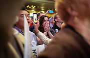 Tony Evers supporters celebrate during the Election Night watch party at the Orpheum Theater in Madison, Wisconsin, Wednesday, Nov. 7, 2018.