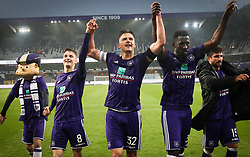 April 29, 2018 - Brussels, BELGIUM - Anderlecht's players celebrates after winning the Jupiler Pro League match between RSC Anderlecht and Sporting Charleroi, in Brussels, Sunday 29 April 2018, on day six of the Play-Off 1 of the Belgian soccer championship. BELGA PHOTO VIRGINIE LEFOUR (Credit Image: © Virginie Lefour/Belga via ZUMA Press)
