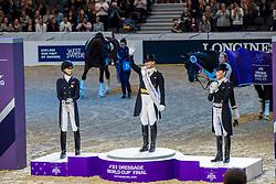 Werth Isabell, GER, Graves Laura, USA, Langehanenberg Helen, GER<br /> Göteborg - Gothenburg Horse Show 2019 <br /> FEI Dressage World Cup™ Final II<br /> Grand Prix Freestyle/Kür - Prix giving ceremony<br /> Longines FEI Jumping World Cup™ Final and FEI Dressage World Cup™ Final<br /> 06. April 2019<br /> © www.sportfotos-lafrentz.de/Stefan Lafrentz