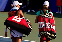 Polona Hercog of Slovenia and Petra Martic of Croatia at 2nd Round of Doubles at Banka Koper Slovenia Open WTA Tour tennis tournament, on July 22, 2010 in Portoroz / Portorose, Slovenia. (Photo by Vid Ponikvar / Sportida)