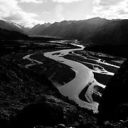 The De las Vueltas river glowing along the Sendero al Fitz Roy trail in Los Glacieres National Park in Argentina.