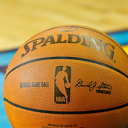 February 12, 2011; New Orleans, LA, USA; A basketball is seen on the court during the first quarter of a game between the New Orleans Hornets and the Chicago Bulls at the New Orleans Arena.   Mandatory Credit: Derick E. Hingle